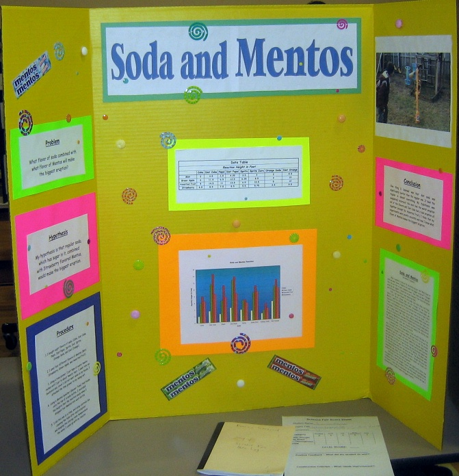 Science Fair Project Soda Fizz http://crestsciencefair.pbworks.com/w/page/16628587/What%20type%20of%20soda%20and%20flavor%20mentos%20makes%20the%20biggest%20explosion